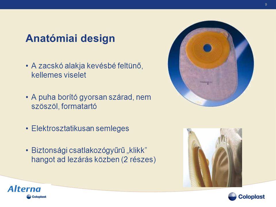 Anatómiai design A zacskó alakja kevésbé feltünő, kellemes viselet