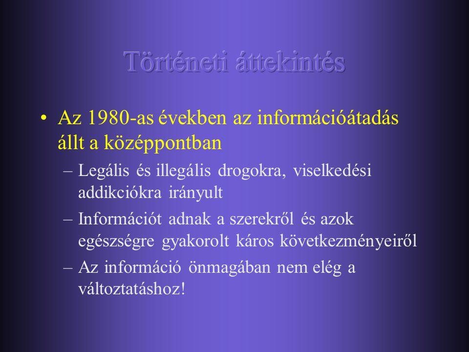 Történeti áttekintés Az 1980-as években az információátadás állt a középpontban. Legális és illegális drogokra, viselkedési addikciókra irányult.