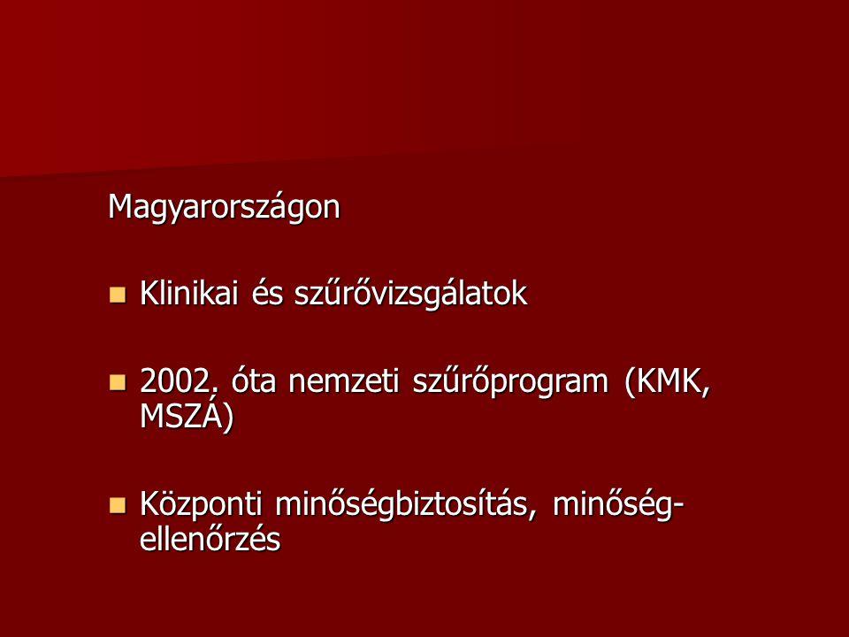 Magyarországon Klinikai és szűrővizsgálatok. 2002.