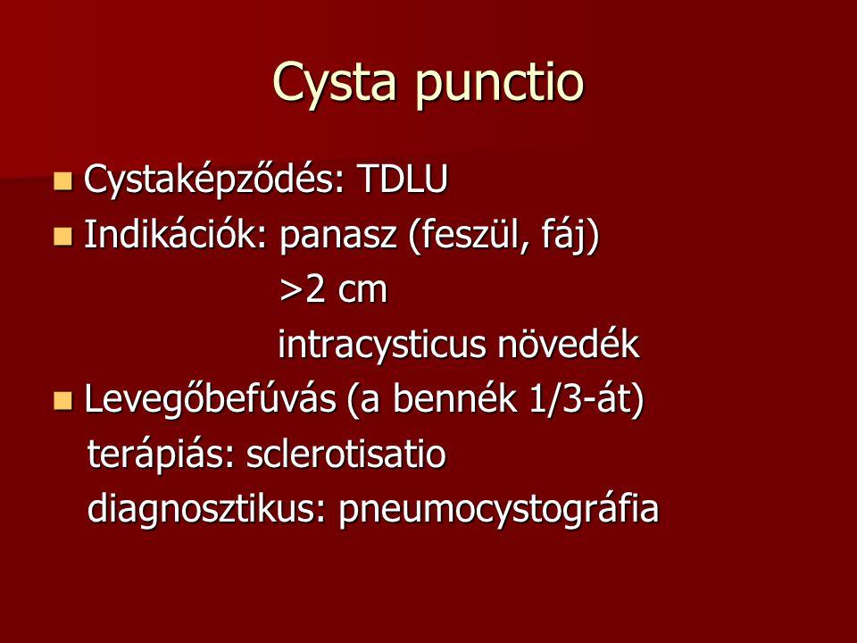 Cysta punctio Cystaképződés: TDLU Indikációk: panasz (feszül, fáj)