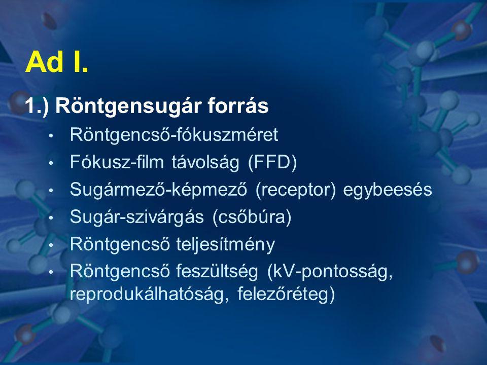 Ad I. 1.) Röntgensugár forrás Röntgencső-fókuszméret