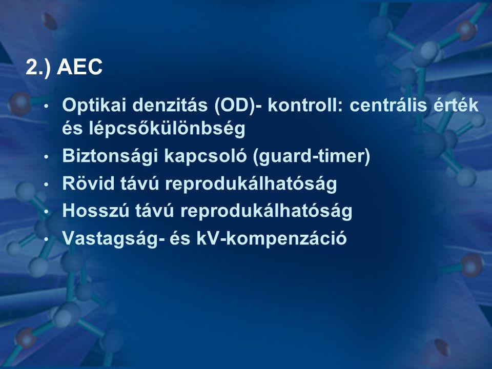 2.) AEC Optikai denzitás (OD)- kontroll: centrális érték és lépcsőkülönbség. Biztonsági kapcsoló (guard-timer)