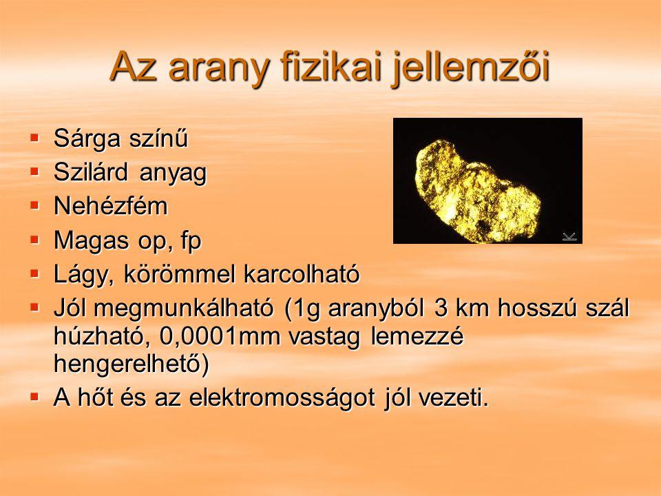 Az arany fizikai jellemzői