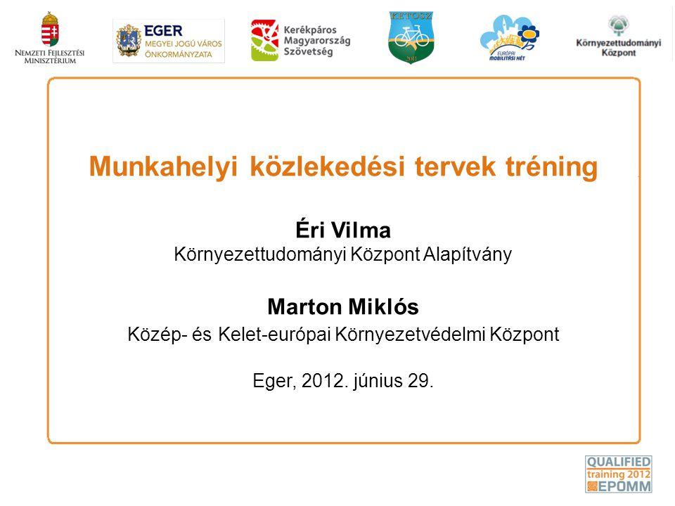 Munkahelyi közlekedési tervek tréning Éri Vilma Környezettudományi Központ Alapítvány Marton Miklós Közép- és Kelet-európai Környezetvédelmi Központ Eger, 2012.