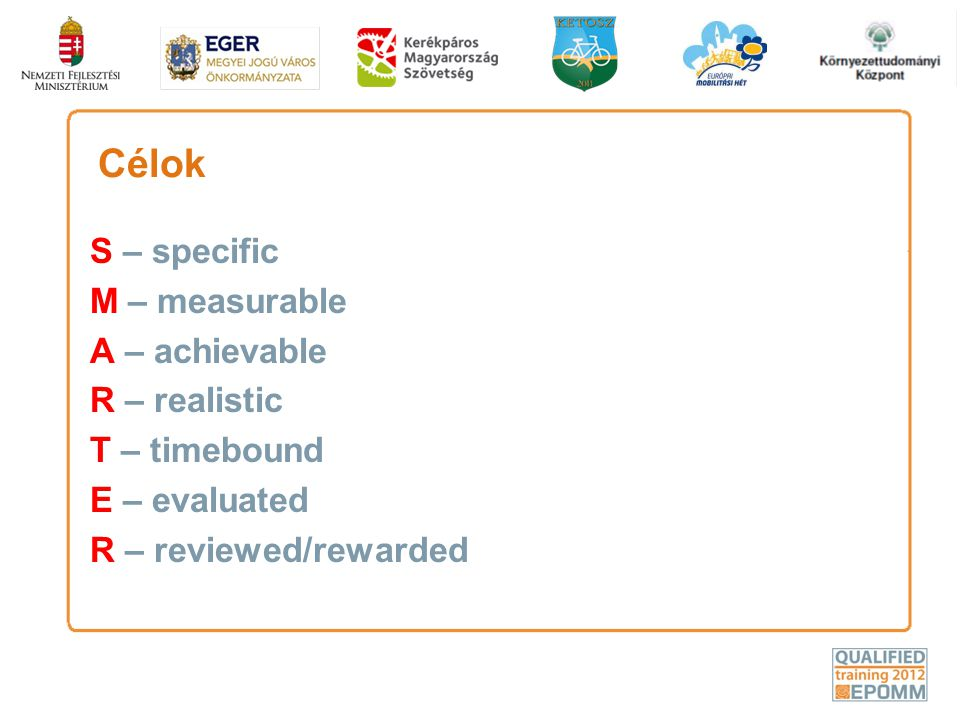 Célok S – specific M – measurable A – achievable R – realistic