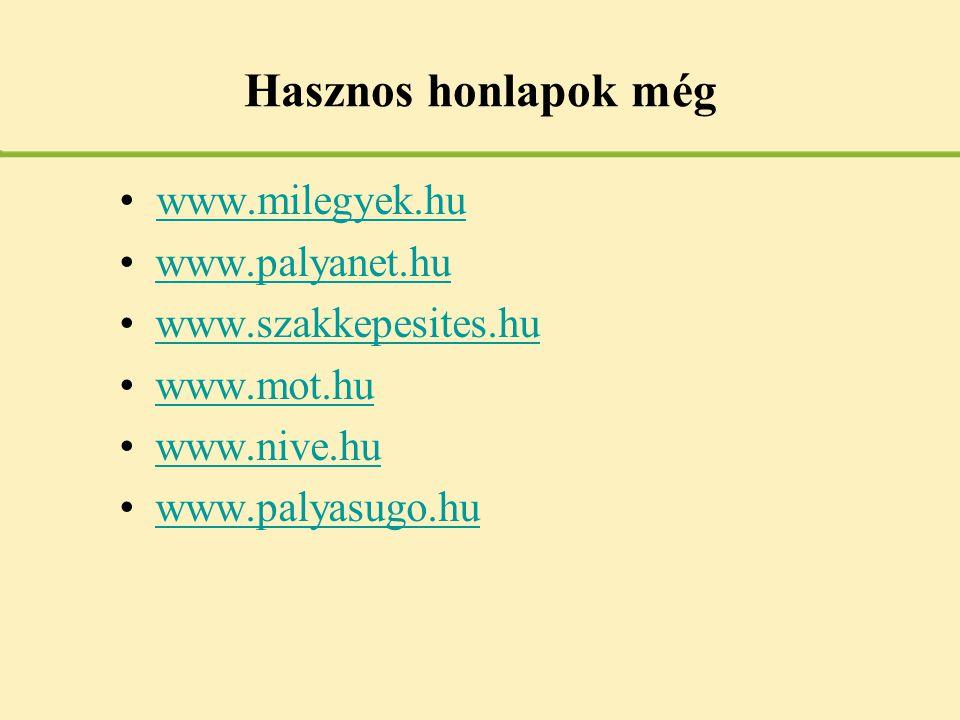 Hasznos honlapok még www.milegyek.hu www.palyanet.hu