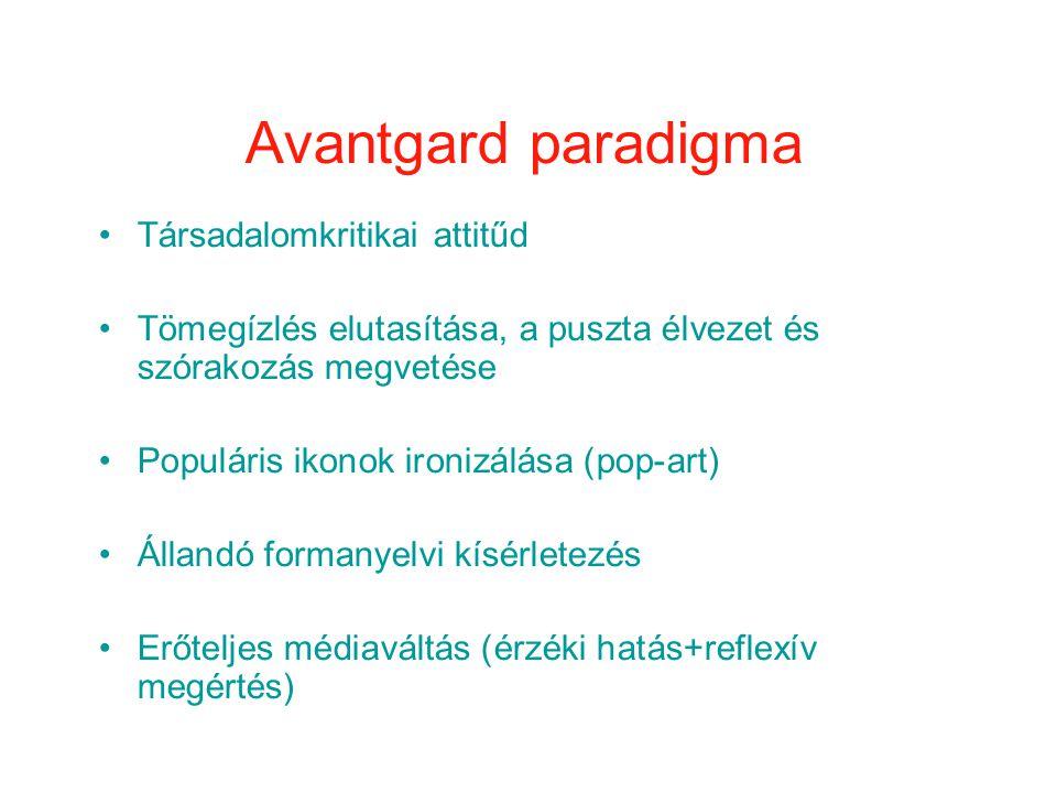 Avantgard paradigma Társadalomkritikai attitűd