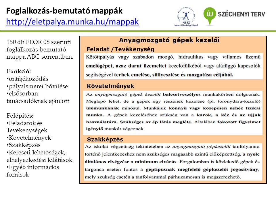 Foglalkozás-bemutató mappák http://eletpalya.munka.hu/mappak