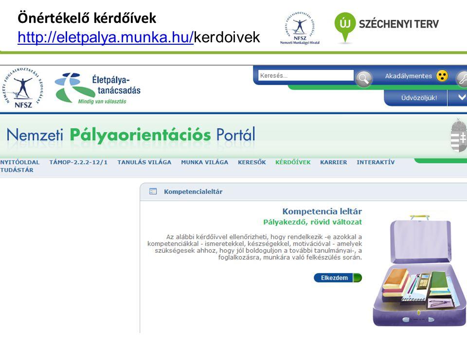 Önértékelő kérdőívek http://eletpalya.munka.hu/kerdoivek