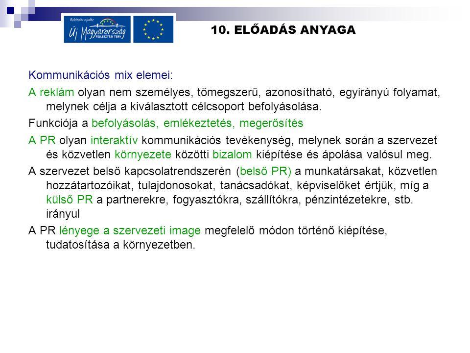 10. ELŐADÁS ANYAGA Kommunikációs mix elemei:
