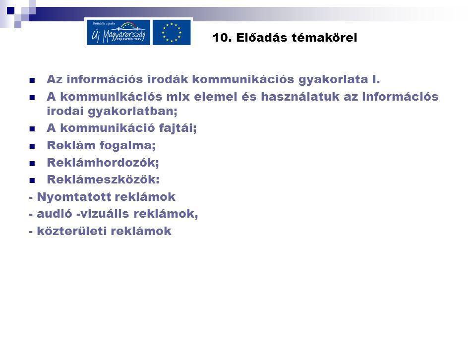 10. Előadás témakörei Az információs irodák kommunikációs gyakorlata I.