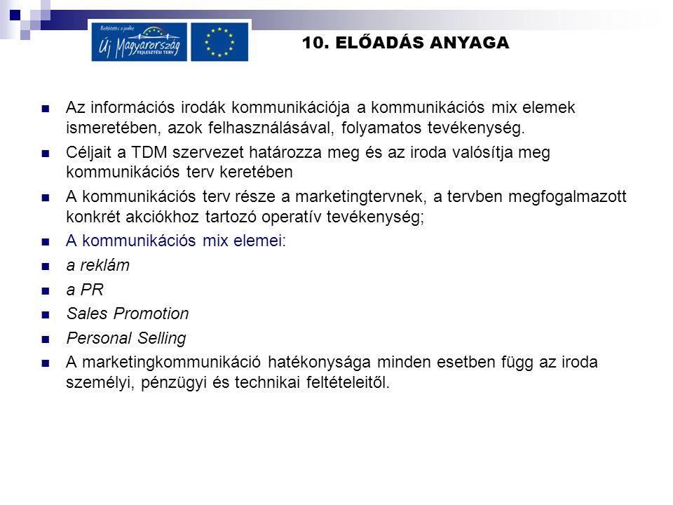 10. ELŐADÁS ANYAGA Az információs irodák kommunikációja a kommunikációs mix elemek ismeretében, azok felhasználásával, folyamatos tevékenység.