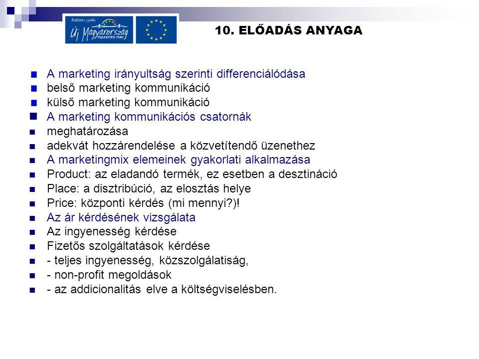 10. ELŐADÁS ANYAGA A marketing irányultság szerinti differenciálódása. belső marketing kommunikáció.