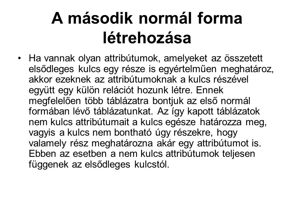 A második normál forma létrehozása
