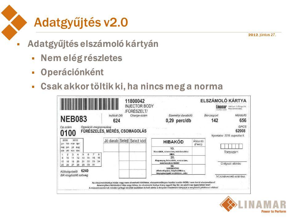Adatgyűjtés v2.0 Adatgyűjtés elszámoló kártyán Nem elég részletes