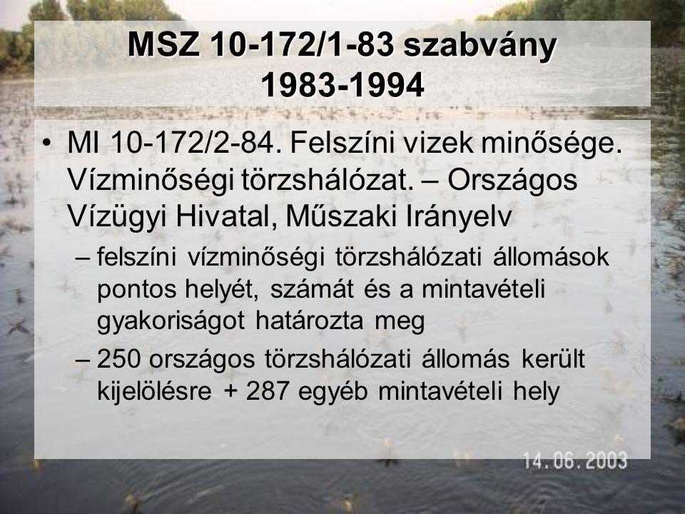 MSZ 10-172/1-83 szabvány 1983-1994 MI 10-172/2-84. Felszíni vizek minősége. Vízminőségi törzshálózat. – Országos Vízügyi Hivatal, Műszaki Irányelv.