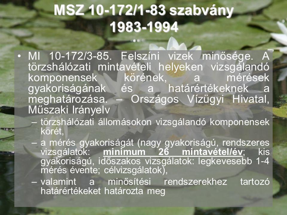 MSZ 10-172/1-83 szabvány 1983-1994