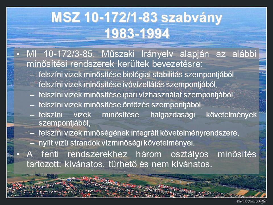 MSZ 10-172/1-83 szabvány 1983-1994 MI 10-172/3-85. Műszaki Irányelv alapján az alábbi minősítési rendszerek kerültek bevezetésre:
