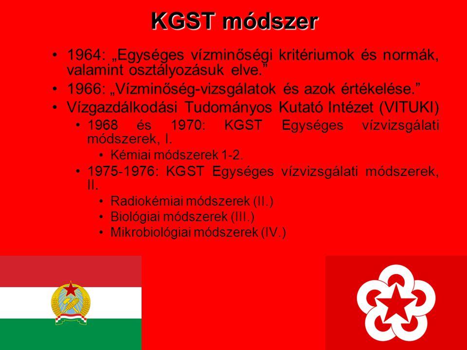 """KGST módszer 1964: """"Egységes vízminőségi kritériumok és normák, valamint osztályozásuk elve. 1966: """"Vízminőség-vizsgálatok és azok értékelése."""