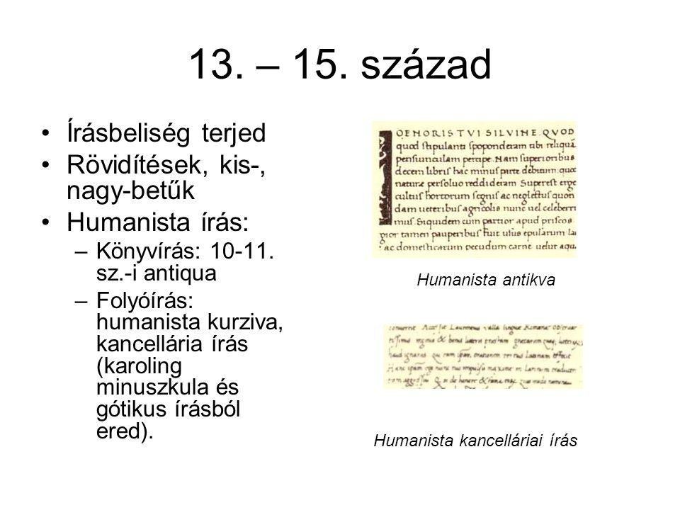13. – 15. század Írásbeliség terjed Rövidítések, kis-, nagy-betűk
