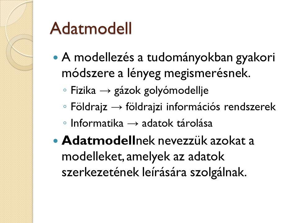 Adatmodell A modellezés a tudományokban gyakori módszere a lényeg megismerésnek. Fizika → gázok golyómodellje.