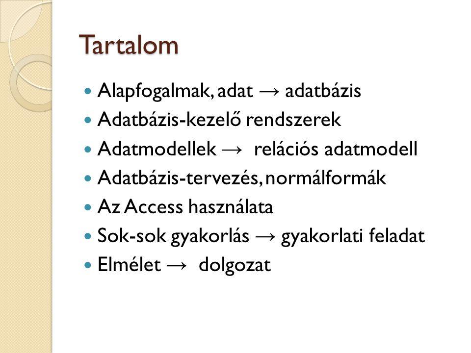 Tartalom Alapfogalmak, adat → adatbázis Adatbázis-kezelő rendszerek