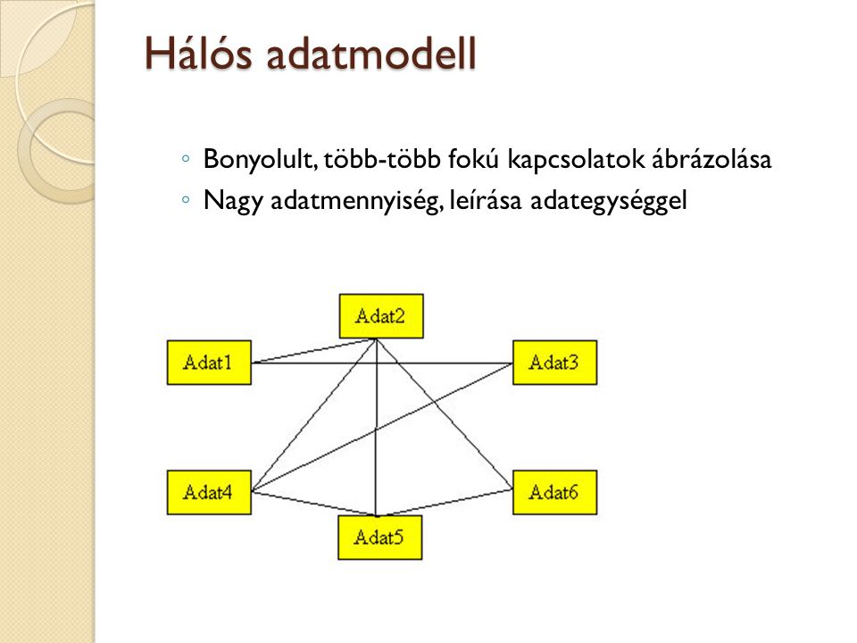 Hálós adatmodell Bonyolult, több-több fokú kapcsolatok ábrázolása
