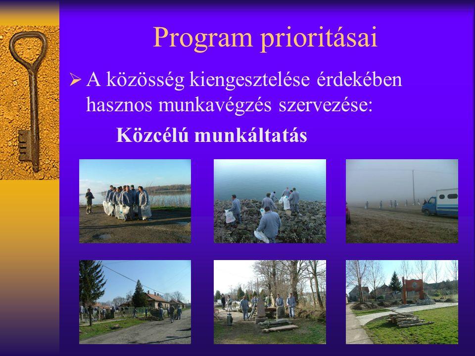 Program prioritásai A közösség kiengesztelése érdekében hasznos munkavégzés szervezése: Közcélú munkáltatás.