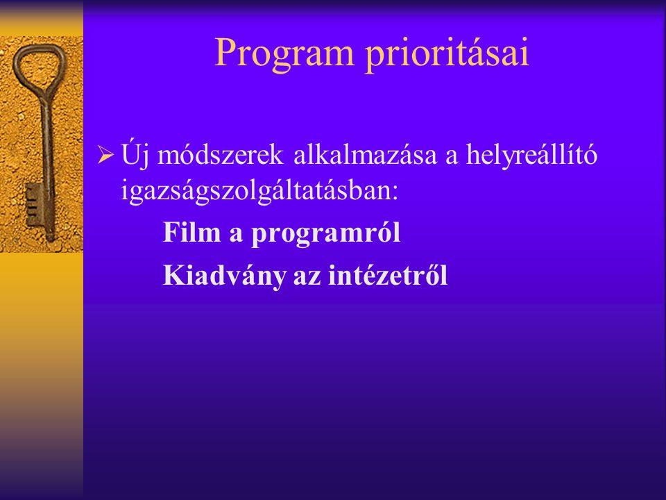 Program prioritásai Új módszerek alkalmazása a helyreállító igazságszolgáltatásban: Film a programról.