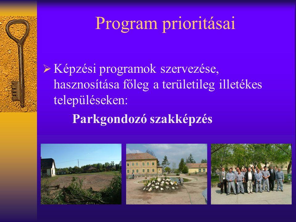 Program prioritásai Képzési programok szervezése, hasznosítása főleg a területileg illetékes településeken: