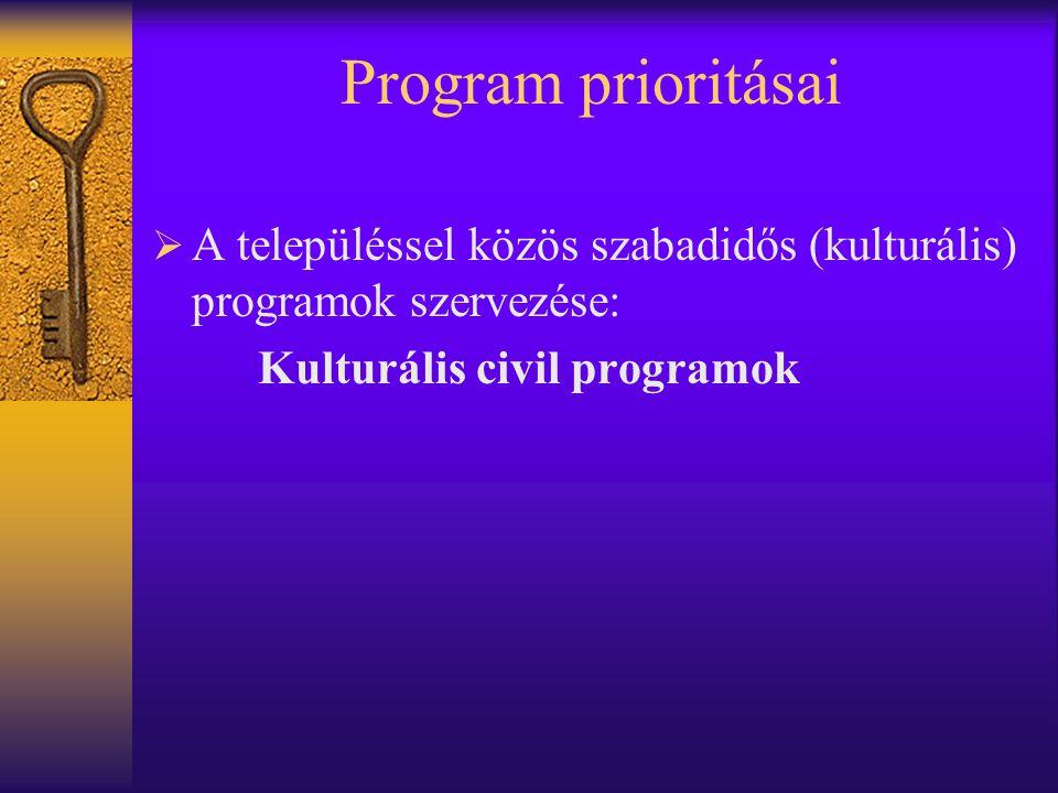 Program prioritásai A településsel közös szabadidős (kulturális) programok szervezése: Kulturális civil programok.