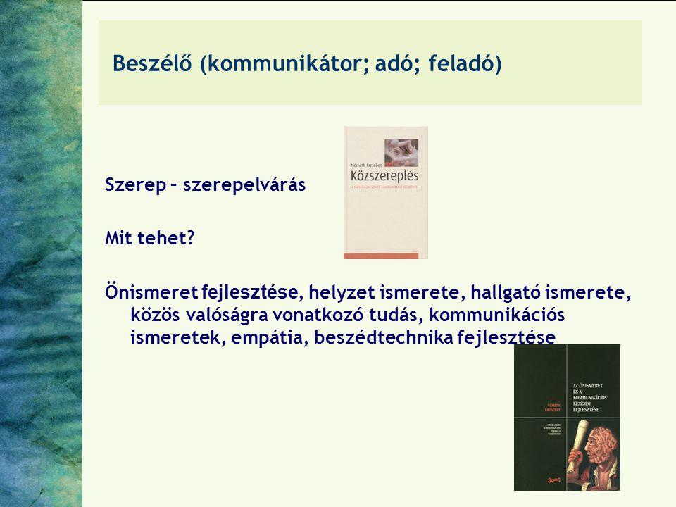 Beszélő (kommunikátor; adó; feladó)