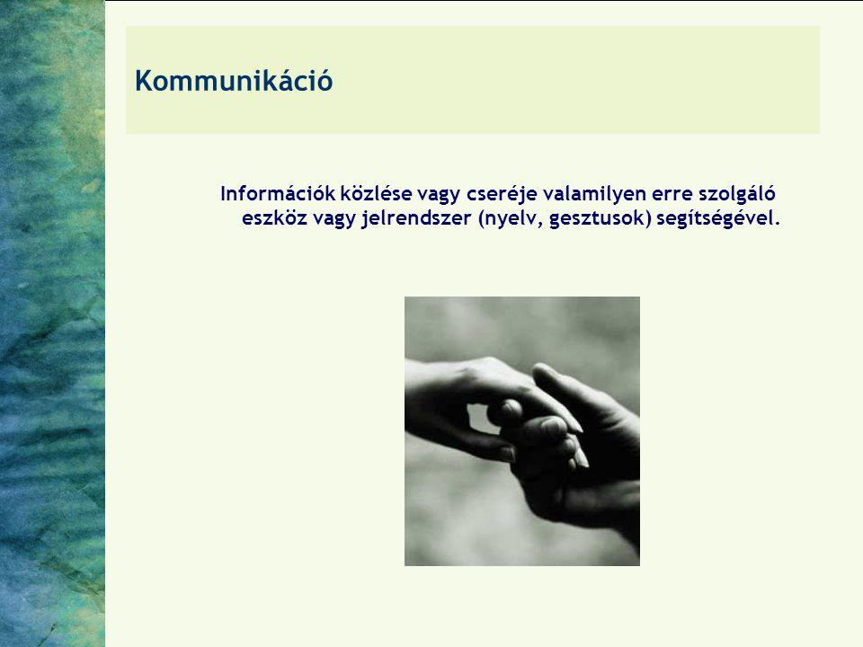 Kommunikáció Információk közlése vagy cseréje valamilyen erre szolgáló eszköz vagy jelrendszer (nyelv, gesztusok) segítségével.