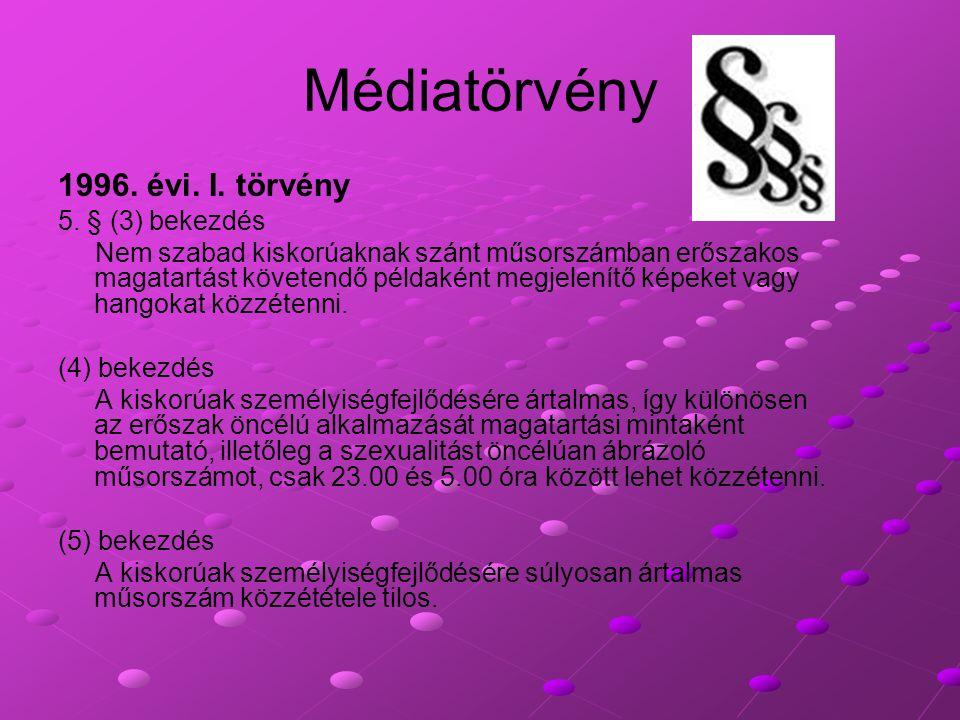 Médiatörvény 1996. évi. I. törvény 5. § (3) bekezdés