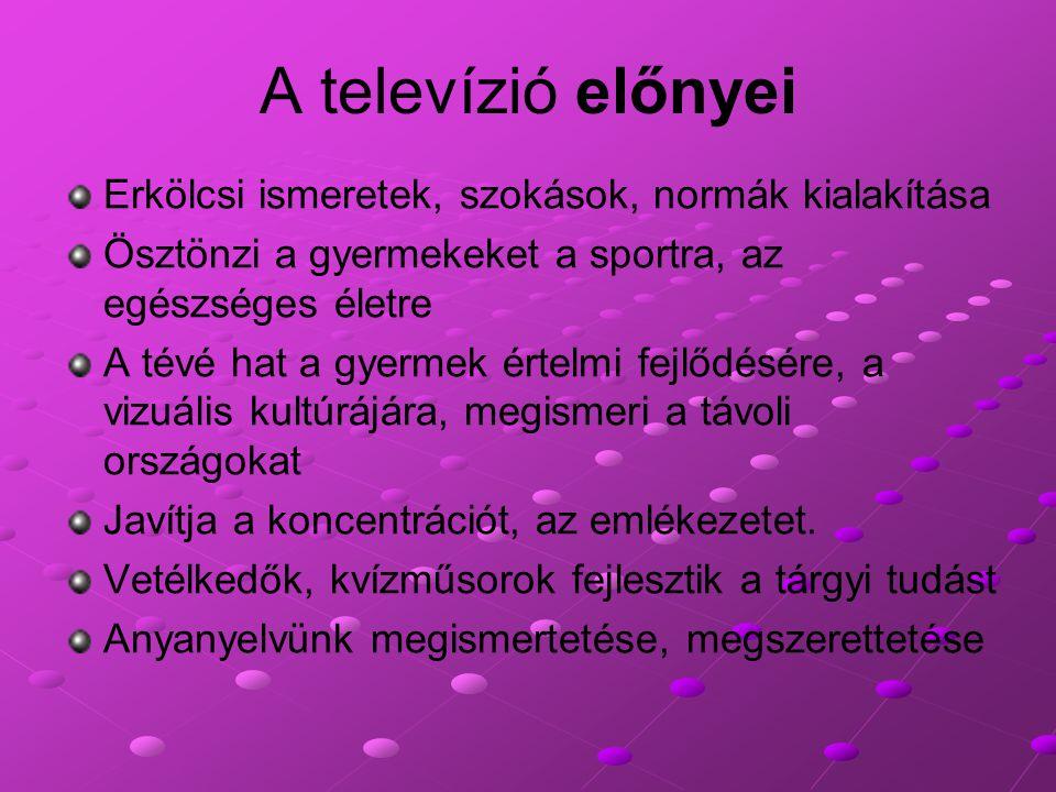 A televízió előnyei Erkölcsi ismeretek, szokások, normák kialakítása