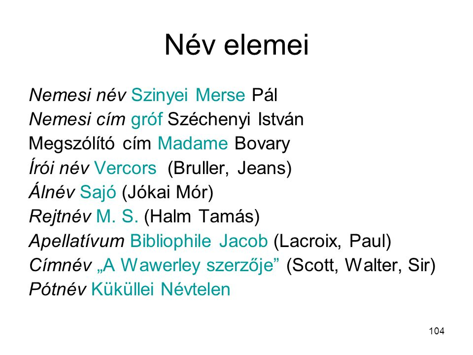 Név elemei Nemesi név Szinyei Merse Pál
