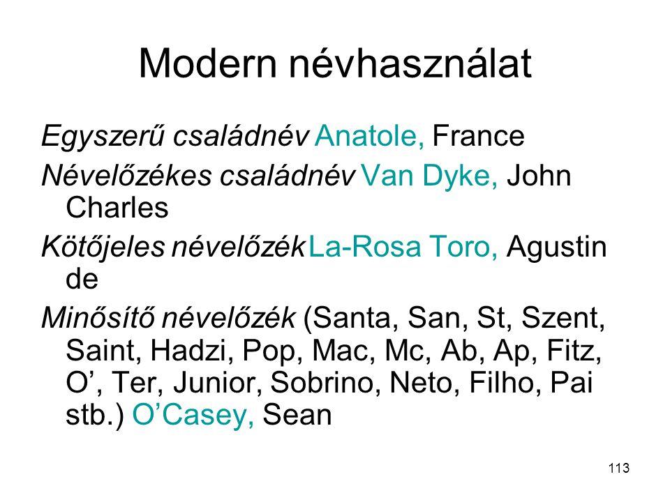 Modern névhasználat Egyszerű családnév Anatole, France