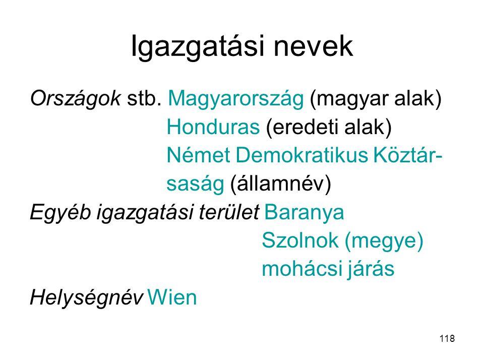 Igazgatási nevek Országok stb. Magyarország (magyar alak)