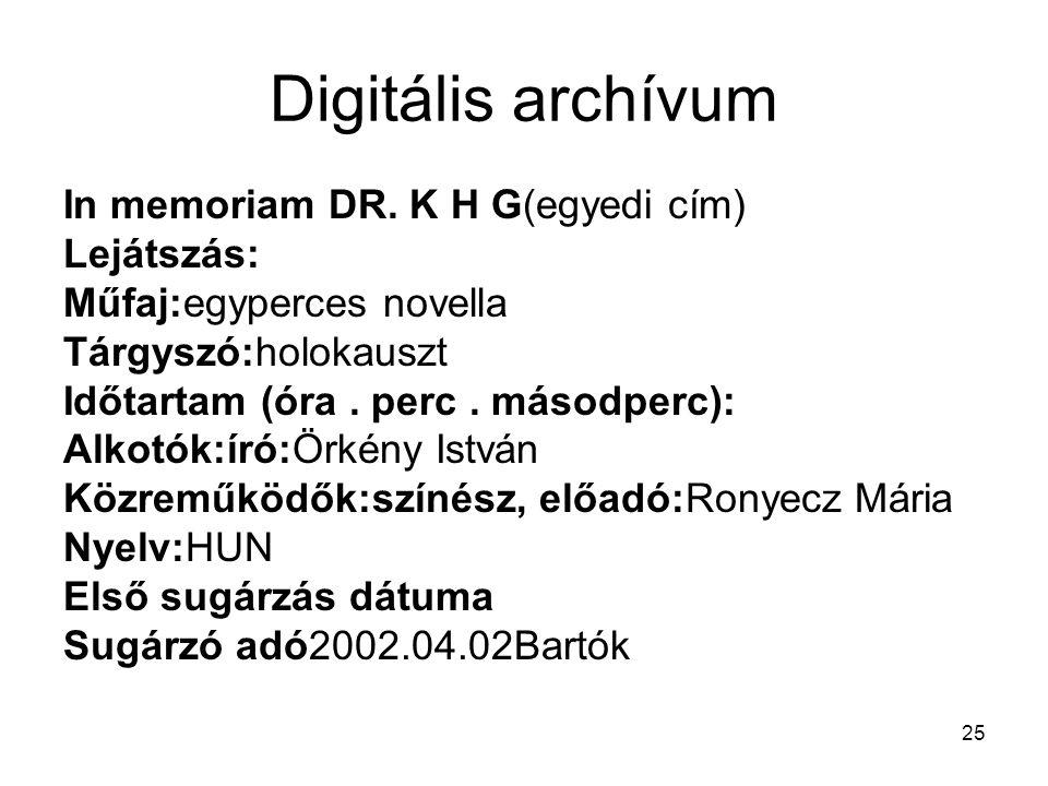 Digitális archívum In memoriam DR. K H G(egyedi cím) Lejátszás: