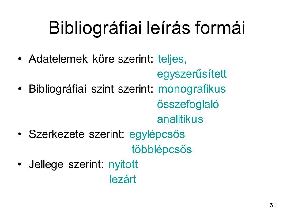 Bibliográfiai leírás formái