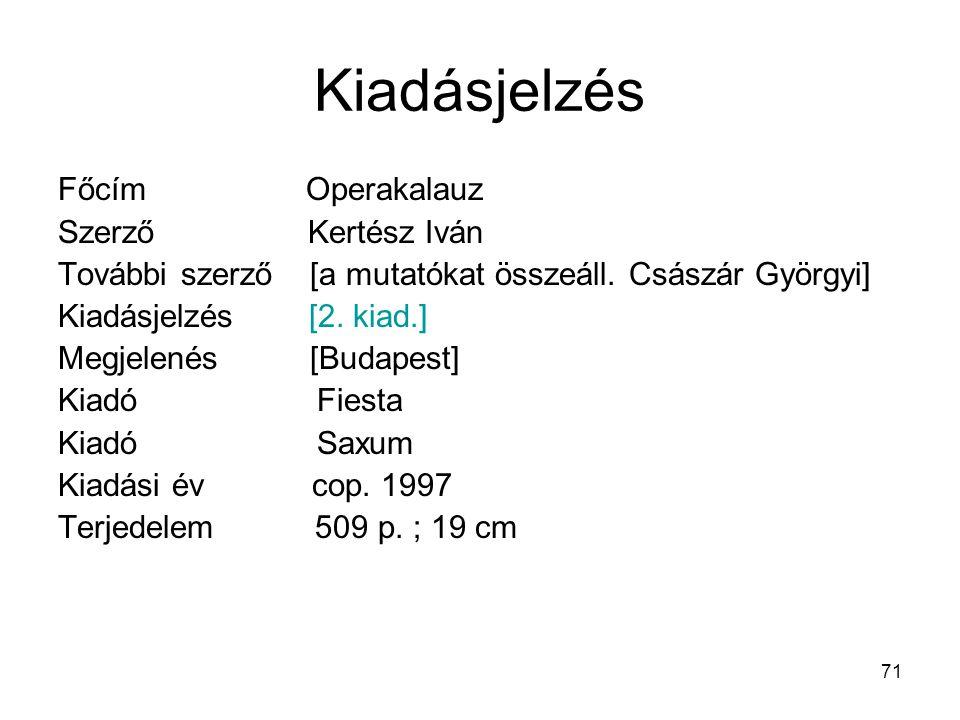 Kiadásjelzés Főcím Operakalauz Szerző Kertész Iván