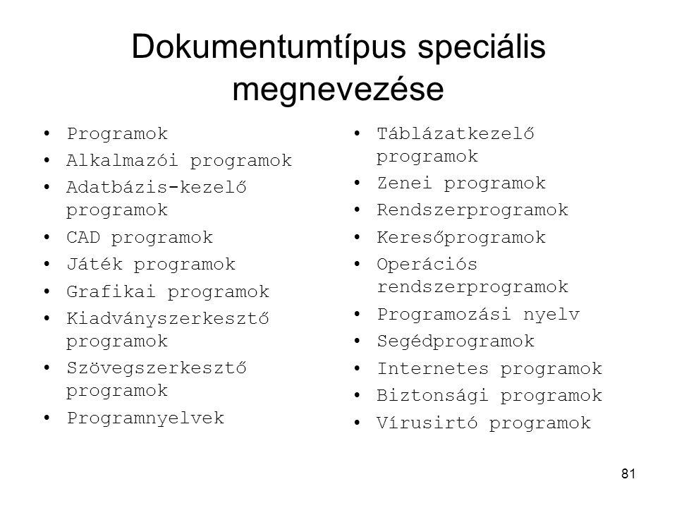 Dokumentumtípus speciális megnevezése