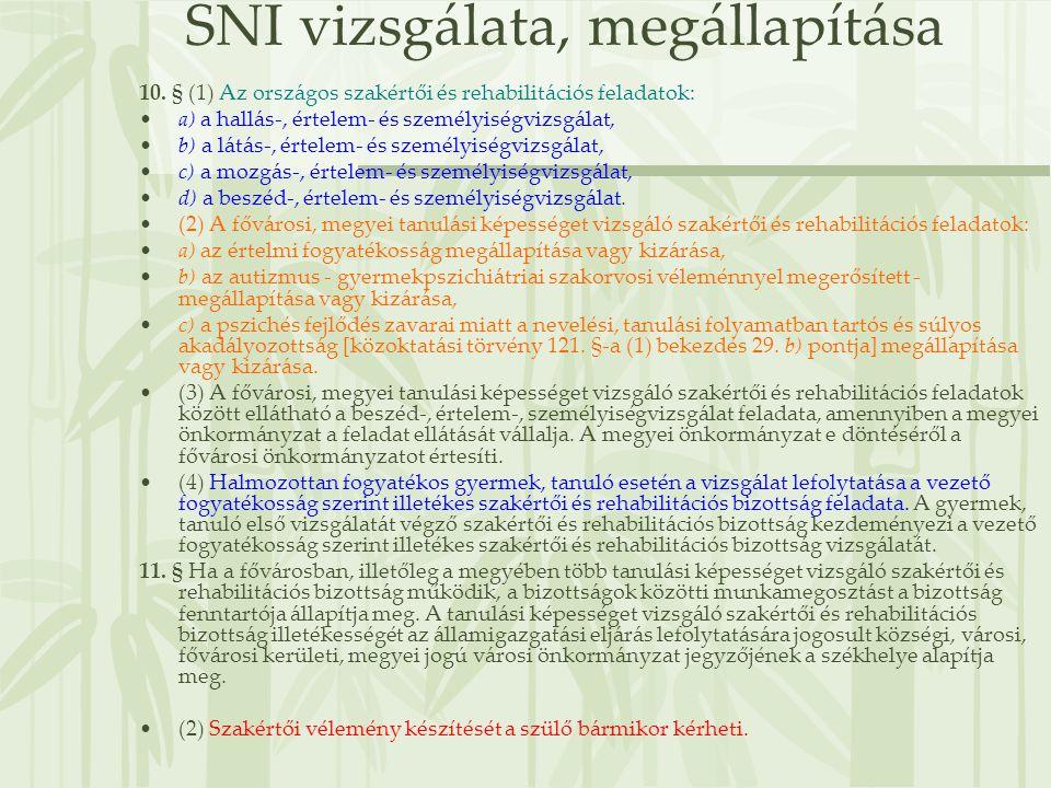 SNI vizsgálata, megállapítása