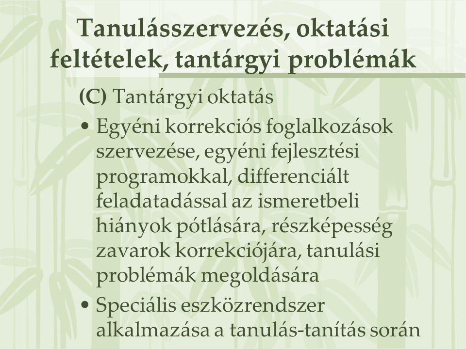 Tanulásszervezés, oktatási feltételek, tantárgyi problémák