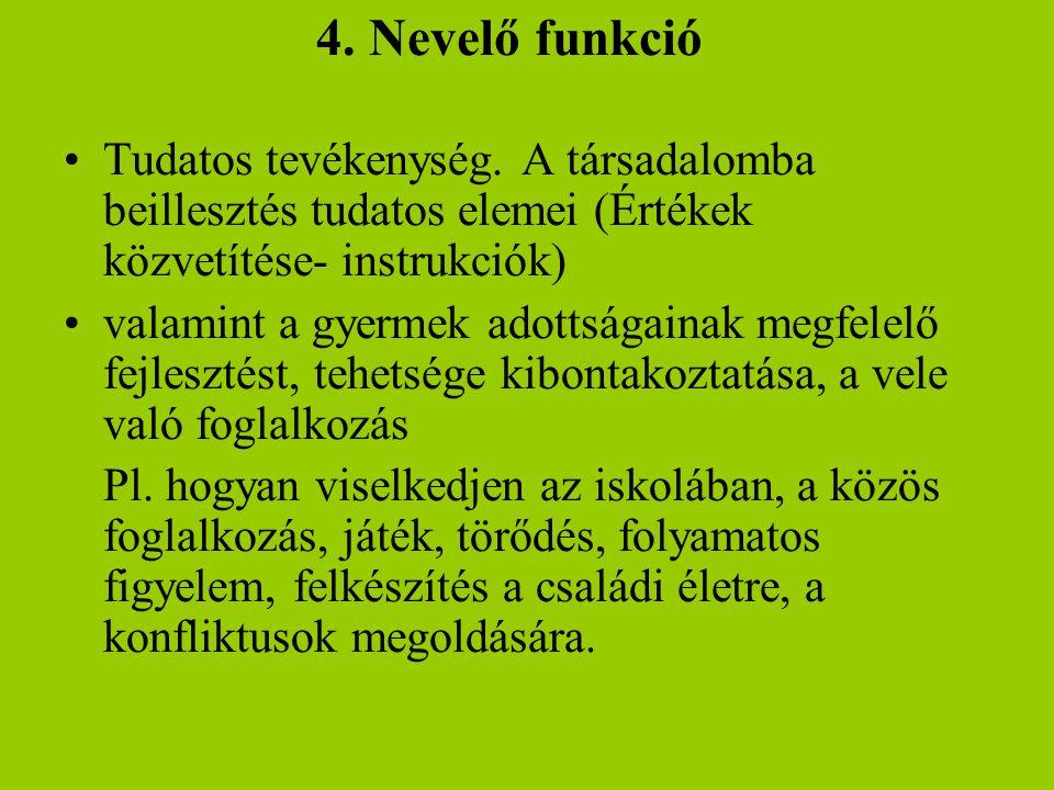 4. Nevelő funkció Tudatos tevékenység. A társadalomba beillesztés tudatos elemei (Értékek közvetítése- instrukciók)