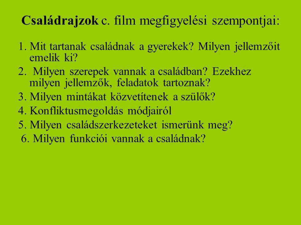 Családrajzok c. film megfigyelési szempontjai: