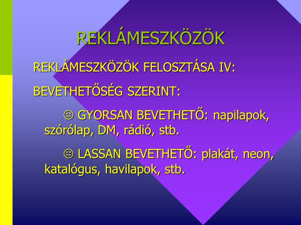 REKLÁMESZKÖZÖK REKLÁMESZKÖZÖK FELOSZTÁSA IV: BEVETHETŐSÉG SZERINT: