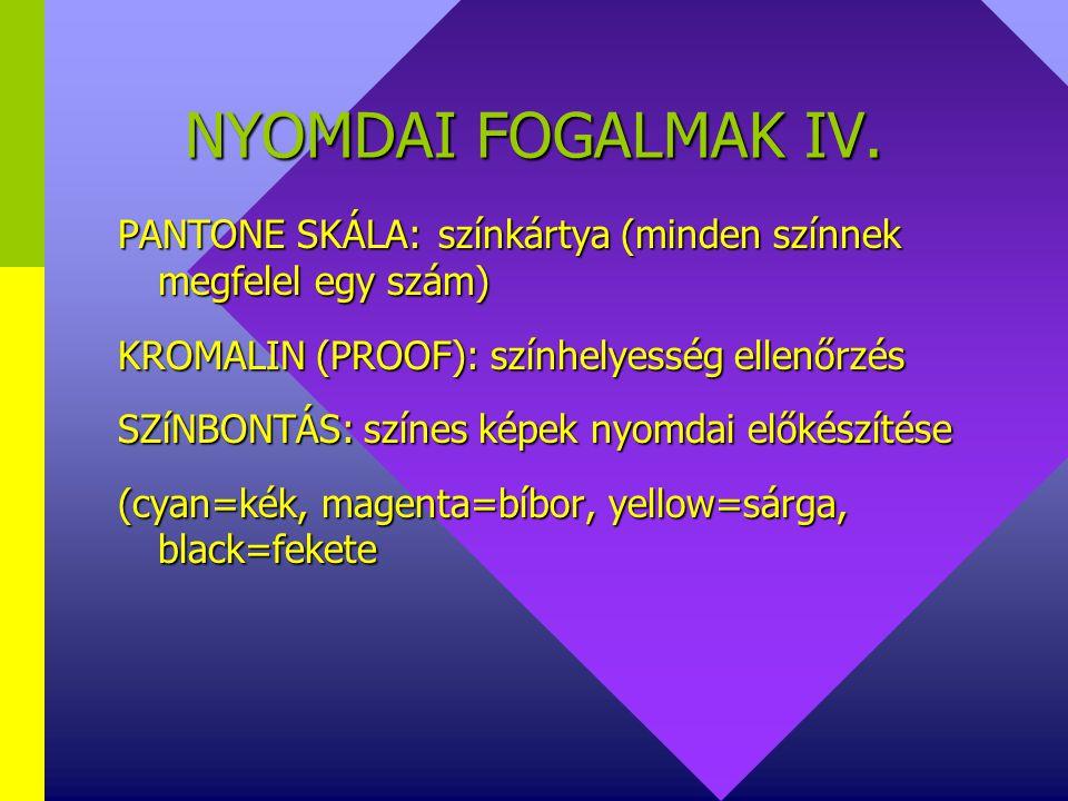 NYOMDAI FOGALMAK IV. PANTONE SKÁLA: színkártya (minden színnek megfelel egy szám) KROMALIN (PROOF): színhelyesség ellenőrzés.
