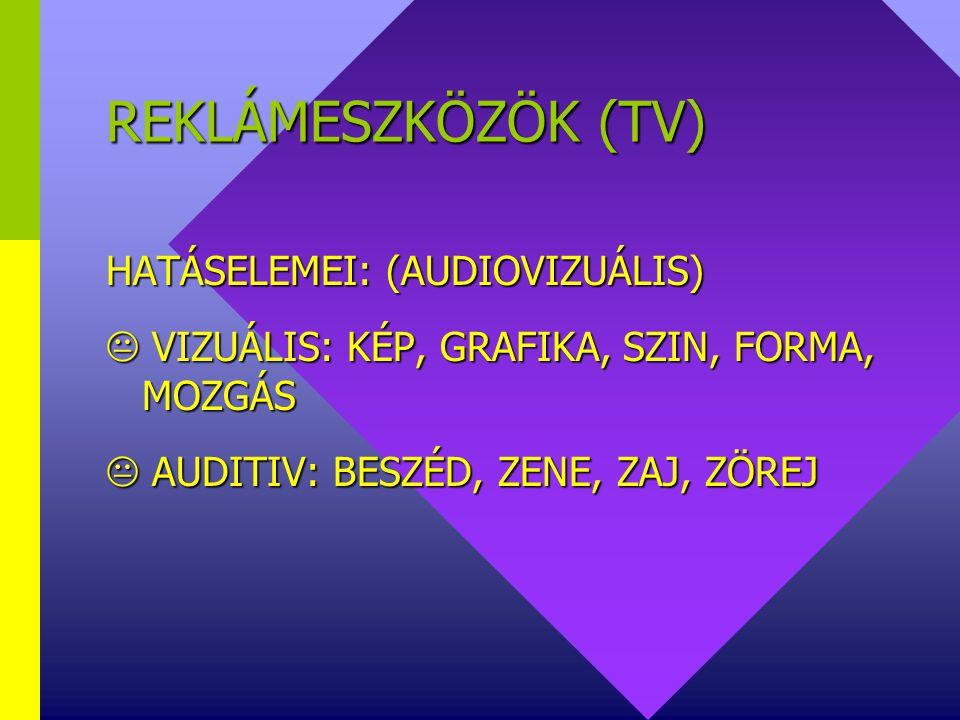 REKLÁMESZKÖZÖK (TV) HATÁSELEMEI: (AUDIOVIZUÁLIS)  VIZUÁLIS: KÉP, GRAFIKA, SZIN, FORMA, MOZGÁS  AUDITIV: BESZÉD, ZENE, ZAJ, ZÖREJ