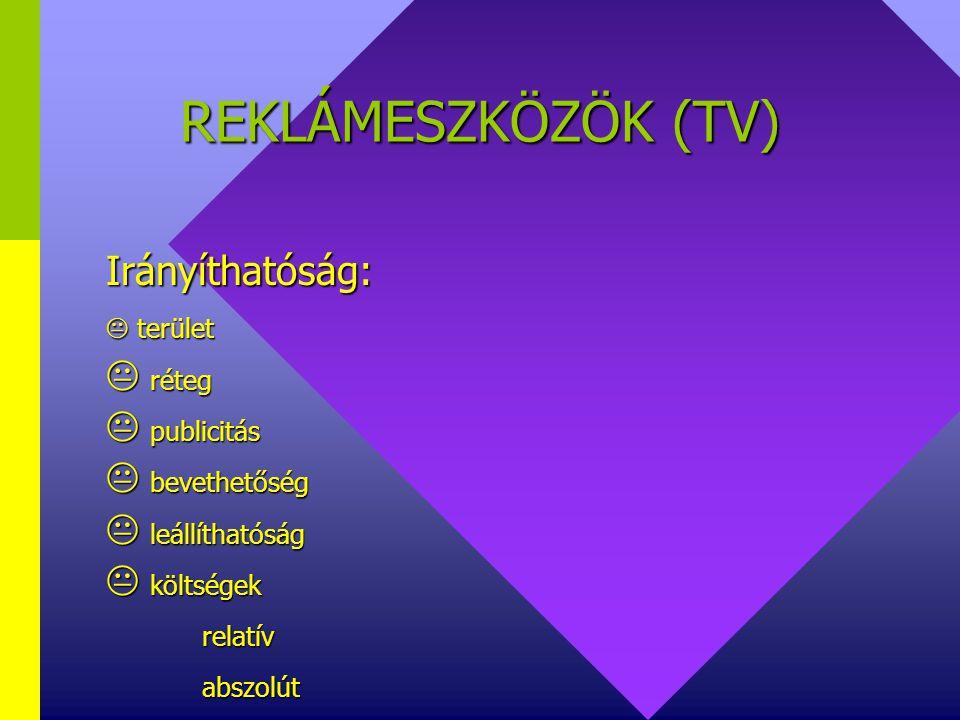 REKLÁMESZKÖZÖK (TV) Irányíthatóság:  terület réteg publicitás